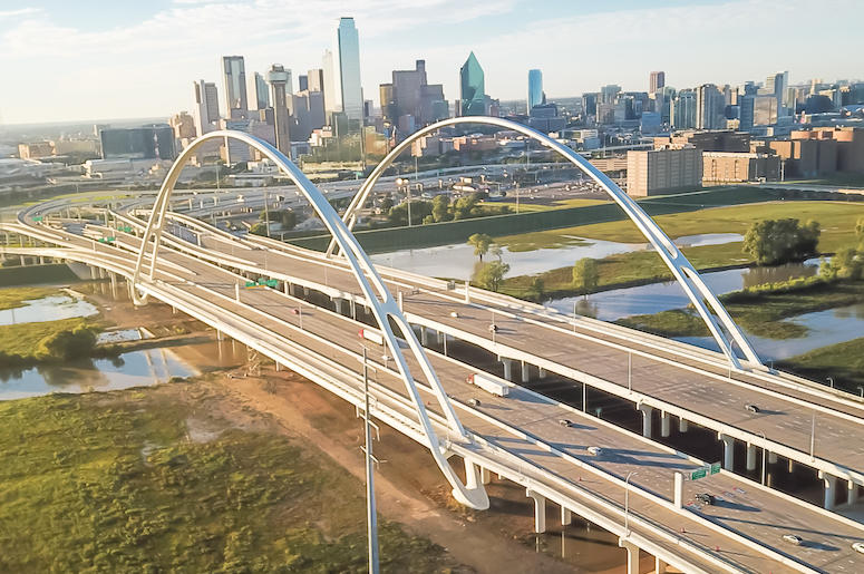 Dallas, DFW, Skyline, Dusk, Margaret McDermott Bridge