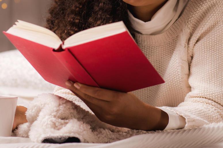 Woman, Reading, Book, Bed, Pajamas, Tea, Mug
