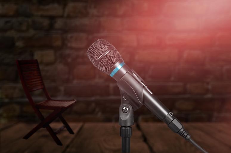 Microphone, Microphone Stand, Brick Wall, Comedy Club