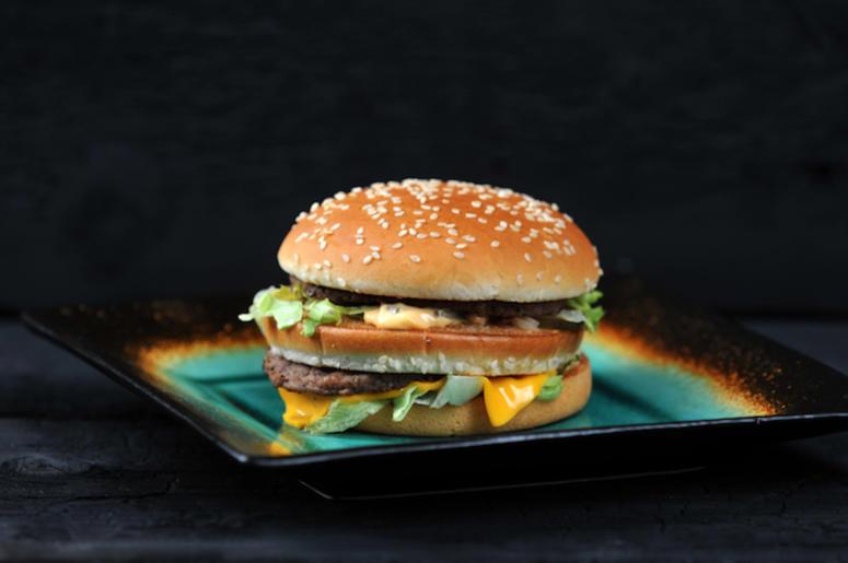 Big Mac, McDonald's, Hamburger, Black Background