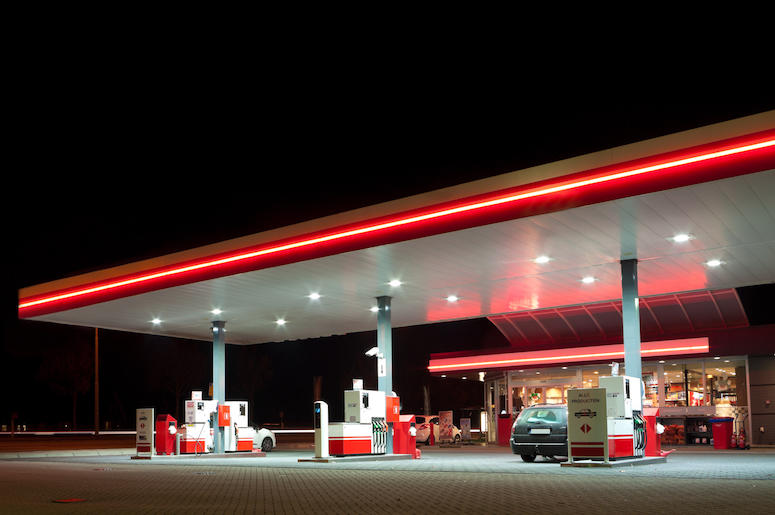 Gas Station, Pumps, Clean, Night, Neon