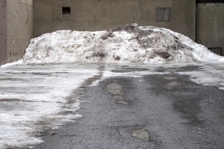 Dirty Snow, Concrete, Downtown, City, Street, Plowed, Dirt