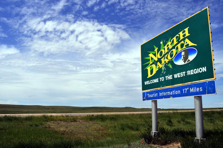 North Dakota, State, Welcome Sign, Field