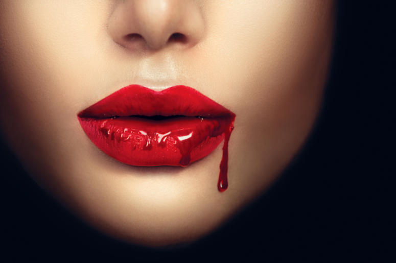 Woman, Vampire, Red Lips, Blood