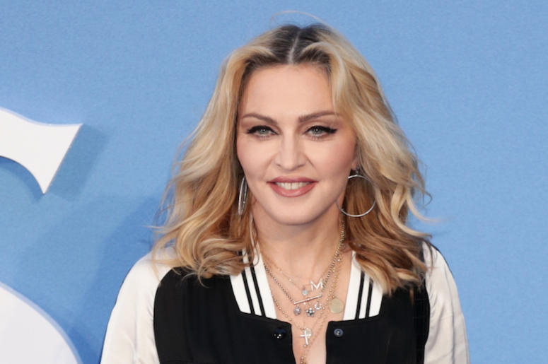 Madonna, Red Carpet, Blue Background, Smile, 2019
