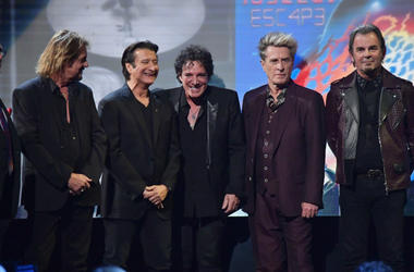 Gregg Rolie, Steve Perry, Neal Schon, Ross Valory and Jonathan Cain of Journey speak onstage at the 32nd Annual Rock & Roll Hall Of Fame Induction Ceremony