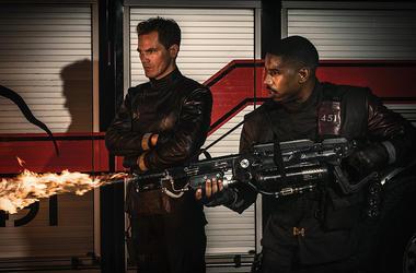 "Michael Shannon and Michael B. Jordan in ""Fahrenheit 451"""