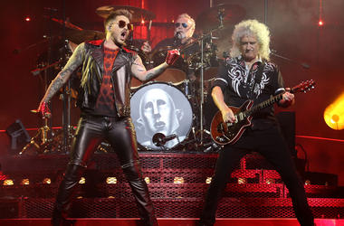 7/26/2017 - Adam Lambert, Roger Taylor and Brian May of Queen perform at the Prudential Center in New Jersey. (Photo by PA Images/Sipa USA)