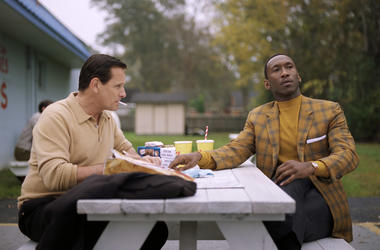 """This image released by Universal Pictures shows Viggo Mortensen, left, and Mahershala Ali in a scene from """"Green Book."""" The film is nominated for an Oscar for best picture. The 91st Academy Awards will be held on Sunday."""