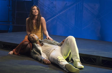 "This image released by NBC shows, John Legend as Jesus Christ, and Sara Bareilles as Mary Magdalene from the NBC production, ""Jesus Christ Superstar Live In Concert."" The musical was nominated for an Emmy for outstanding variety special. (Virginia Sherwoo"