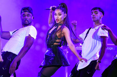 In this June 2, 2018 file photo, Ariana Grande, center, performs at Wango Tango in Los Angeles. Grande won her first Grammy Award on Sunday, Feb. 10, but the singer didn't collect it after she decided to skip the ceremony following a public dispute with t
