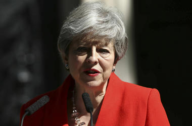 Britain's Prime Minister Theresa May makes a statement outside at 10 Downing Street in London, Friday May 24, 2019. (Yui Mok/PA via AP)