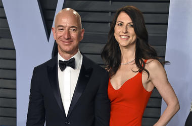 In this March 4, 2018 file photo, Jeff Bezos and wife MacKenzie Bezos arrive at the Vanity Fair Oscar Party in Beverly Hills, California. (Photo by Evan Agostini/Invision/AP, File)