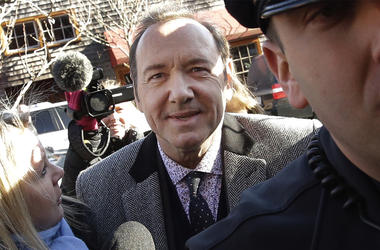 In this Jan. 7, 2019 file photo, actor Kevin Spacey arrives at district court in Nantucket, Massachusetts. (AP Photo/Steven Senne)