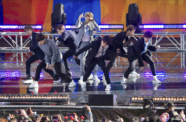 """In this May 15, 2019, file photo, South Korean boy band BTS perform on ABC's """"Good Morning America at Rumsey Playfield/SummerStage in Central Park, in New York. (Photo by Scott Roth/Invision/AP, File)"""