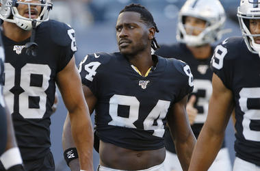 In this Aug. 22, 2019, file photo, Oakland Raiders' Antonio Brown (84) and teammates gather before an NFL preseason football game against the Green Bay Packers in Winnipeg, Manitoba. (John Woods/The Canadian Press via AP, File)