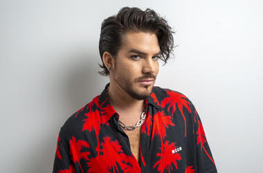 "This Sept. 6, 2019 photo shows singer Adam Lambert posing for a portrait in New York to promote ""Velvet: Side A,"" one-half of his first studio album in four years. (Photo by Scott Gries/Invision/AP)"