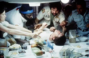 "Sigourney Weaver, Ian Holm, John Hurt, Tom Skerritt, Veronica Cartwright, and Yaphet Kotto in 1979's horror/sci-fi classic ""Alien"" (Photo credit: 20th Century Fox)"