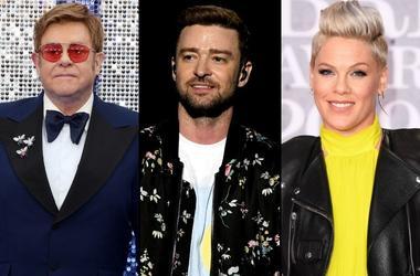 Elton John, JUstin Timberlake, and Pink