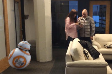 Sarah And Vinnie With BB8