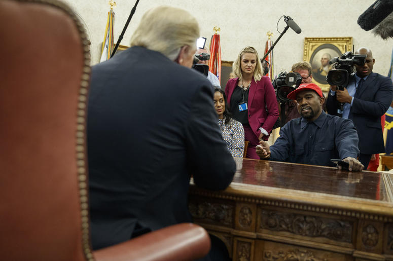 Donald Trump meets with rapper Kanye West in the Oval Office