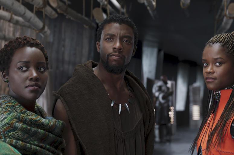 Lupita Nyong'o, Chadwick Boseman and Letitia Wright of Marvel Studios' 'Black Panther' (Photo credit: Disney via AP, File)