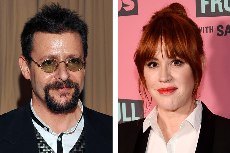 This combination photo shows actor Judd Nelson backstage during the 82nd Academy Awards in Los Angeles on March 7, 2010, left, and actress Molly Ringwald at a screening in Beverly Hills, Calif. on May 24, 2018. (AP Photo)