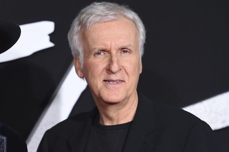"""This Feb. 5, 2019 file photo shows producer James Cameron arrive at the Los Angeles premiere of """"Alita: Battle Angel.""""  (Photo by Jordan Strauss/Invision/AP, File)"""