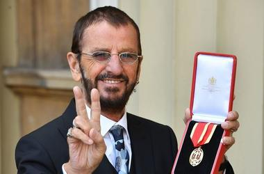 Sir Ringo Starr after receiving his Knighting at Buckingham Palace, London