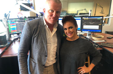 Anthony Michael Hall and Sybil in the 98.7 KLUV studio