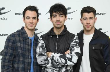 NEW YORK, NEW YORK - MARCH 01: (EXCLUSIVE COVERAGE) Kevin Jonas, Joe Jonas, Nick Jonas of The Jonas Brothers Visit Music Choice on March 01, 2019 in New York City.