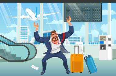 Businessman in Stress, Angry Because of Late on Plane, Missing Baggage After Arrival in Airport Cartoon Vector Illustration. Difficulties in Business Trip, Problems Because Due to Lack of Time Concept
