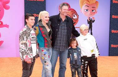 "LOS ANGELES, CALIFORNIA - APRIL 27: (L-R) Kingston Rossdale, Gwen Stefani, Blake Shelton, Apollo Bowie Flynn Rossdale, and Zuma Nesta Rock Rossdale attend STX Films World Premiere of ""UglyDolls"" at Regal Cinemas L.A. Live on April 27, 2019 in Los Angeles,"
