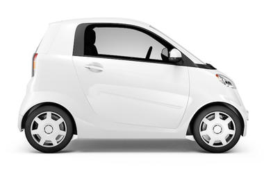 Smart Car, Mini Car, White, Side View, Portrait