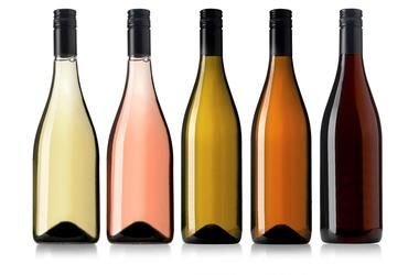 Set of white, rose, and red wine bottles.isolated on white background