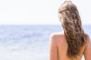Topless, Woman, Beach, Sea, Windy