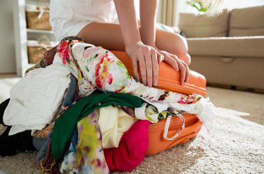 Girl, Suitcase, Lugagge, Overflowing, Packed, Clothes
