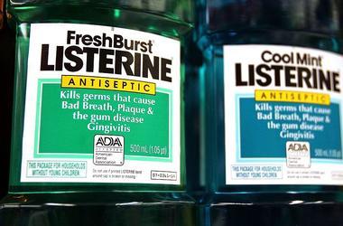 Listerine bottles on the store shelf