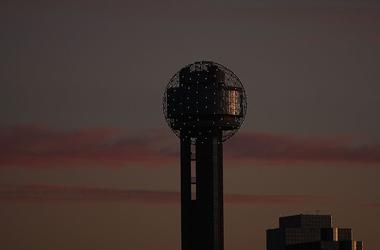 Reunion Tower at dusk in downtown Dallas