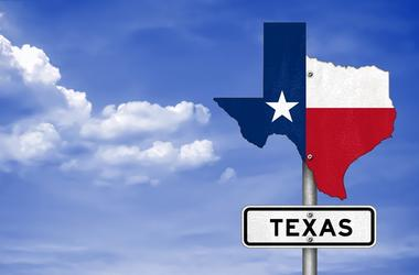 Texas state map - road sign