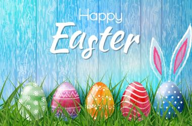 Happy Easter background with realistic Easter eggs. Easter card