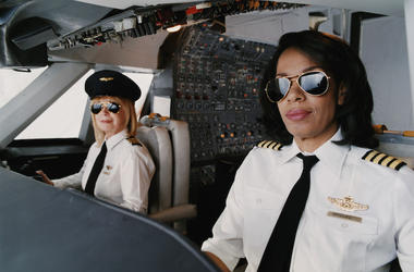 Female, Pilots, Cockpit, Airplane
