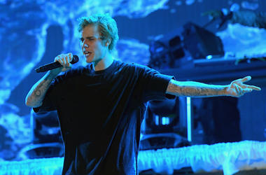 Justin Bieber performs poolside at Fontainebleau Miami Beach's New Years Eve Celebration in 2016