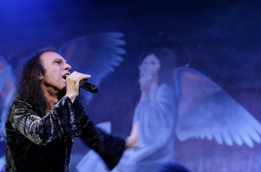 Ronnie James Dio performs on stage with Heaven and Hell during their Heaven and Hell 2007 tour