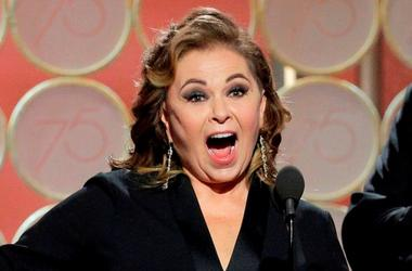 Jan 7, 2018; Beverly Hills, CA, USA; Roseanne Barr at the 75th Golden Globe Awards at the Beverly Hilton.