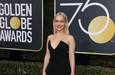 Jan 7, 2018; Beverly Hills, CA, USA; Emilia Clarke arrives for the 75th Golden Globe Awards at the Beverly Hilton.