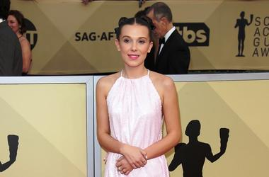 Jan 21, 2018; Los Angeles, CA, USA; Millie Bobby Brown arrives at the 24th annual Screen Actors Guild Awards at the Shrine Auditorium.
