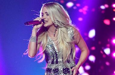 April 15, 2018; Las Vegas, NV, USA; Carrie Underwood performs during the 53rd Academy of Country Music Awards at the MGM Grand Garden Arena