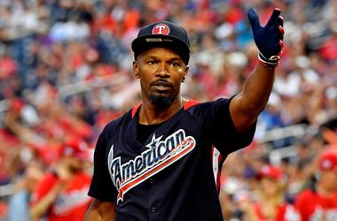 Jul 15, 2018; Washington, DC, USA; Recording artist and actor Jamie Foxx during the 2018 legends and celebrity softball game at Nationals Ballpark.