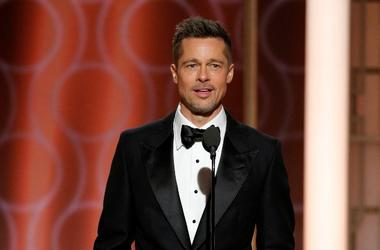 Jan 8, 2017; Beverly Hills, CA, USA; Brad Pitt presents during the 74th Golden Globe Awards at Beverly Hilto